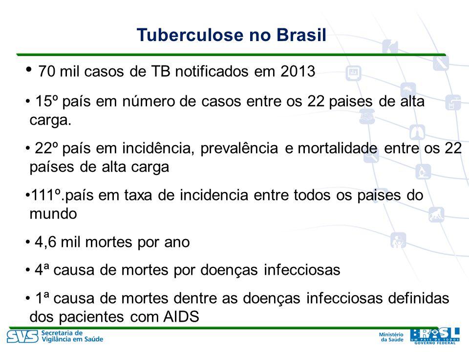 Tuberculose no Brasil 70 mil casos de TB notificados em 2013 15º país em número de casos entre os 22 paises de alta carga.