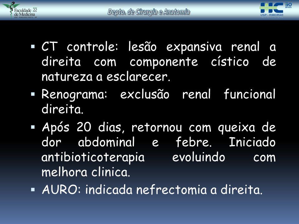  CT controle: lesão expansiva renal a direita com componente cístico de natureza a esclarecer.  Renograma: exclusão renal funcional direita.  Após