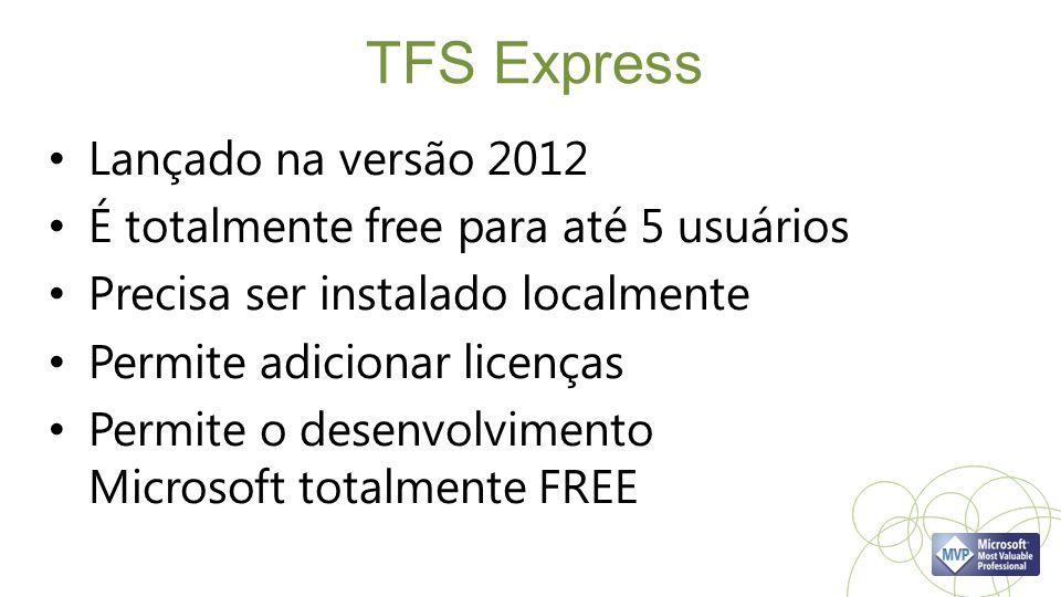 TFS Express Lançado na versão 2012 É totalmente free para até 5 usuários Precisa ser instalado localmente Permite adicionar licenças Permite o desenvo