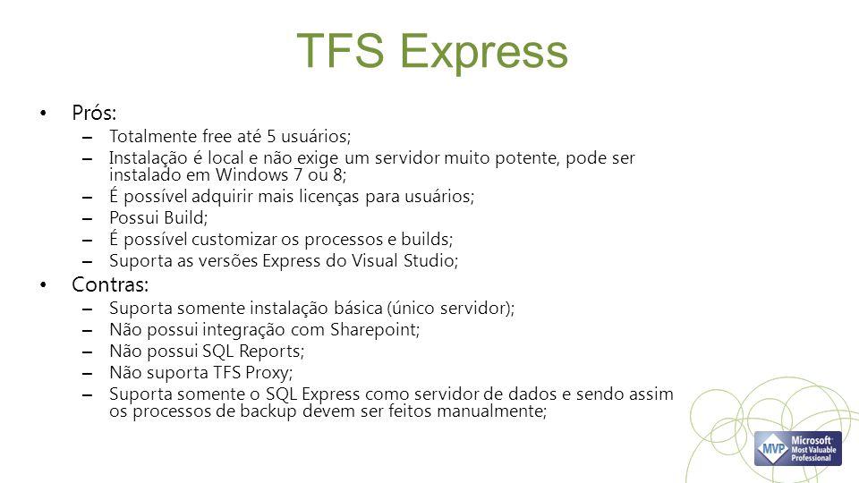 TFS Express Prós: – Totalmente free até 5 usuários; – Instalação é local e não exige um servidor muito potente, pode ser instalado em Windows 7 ou 8;