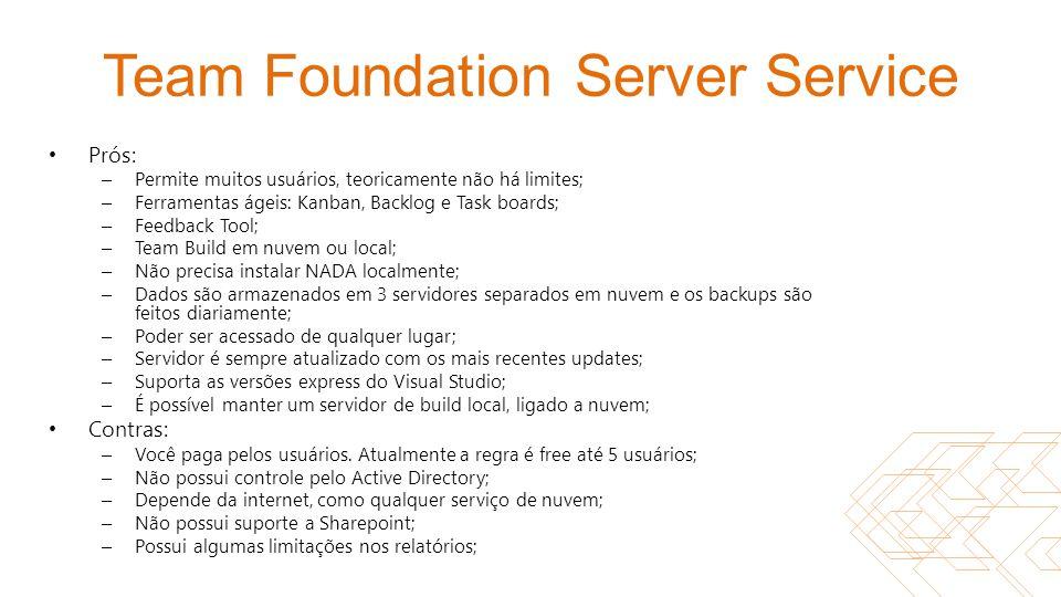 Team Foundation Server Service Prós: – Permite muitos usuários, teoricamente não há limites; – Ferramentas ágeis: Kanban, Backlog e Task boards; – Fee
