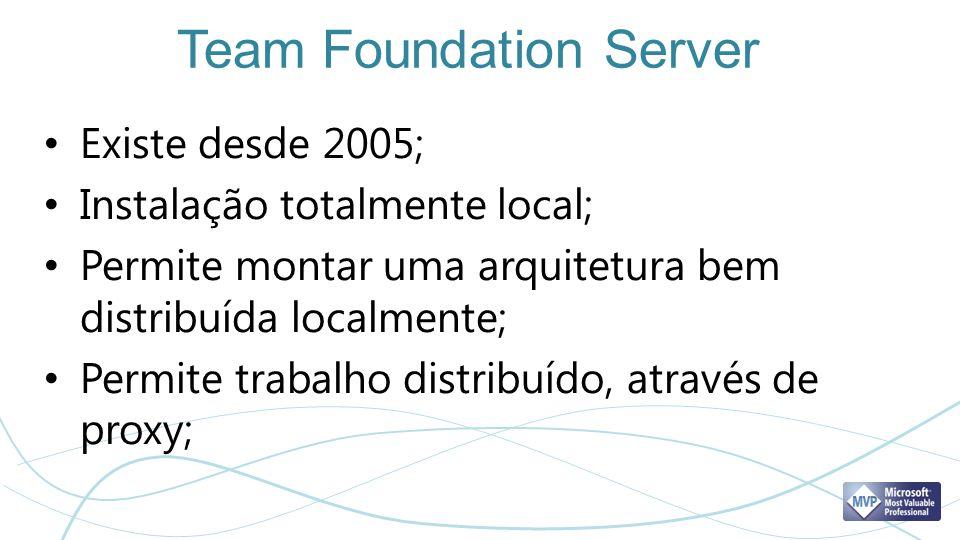 Team Foundation Server Existe desde 2005; Instalação totalmente local; Permite montar uma arquitetura bem distribuída localmente; Permite trabalho dis