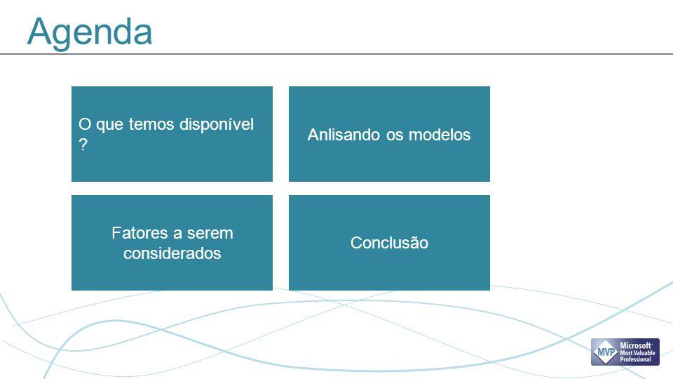 Agenda Anlisando os modelos Fatores a serem considerados O que temos disponível ? Conclusão