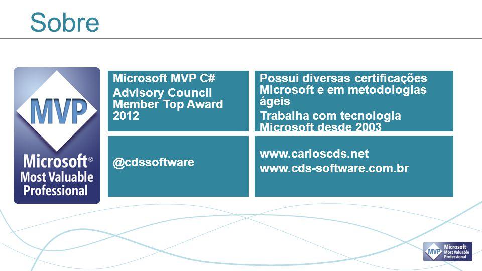 Sobre Microsoft MVP C# Advisory Council Member Top Award 2012 Possui diversas certificações Microsoft e em metodologias ágeis Trabalha com tecnologia