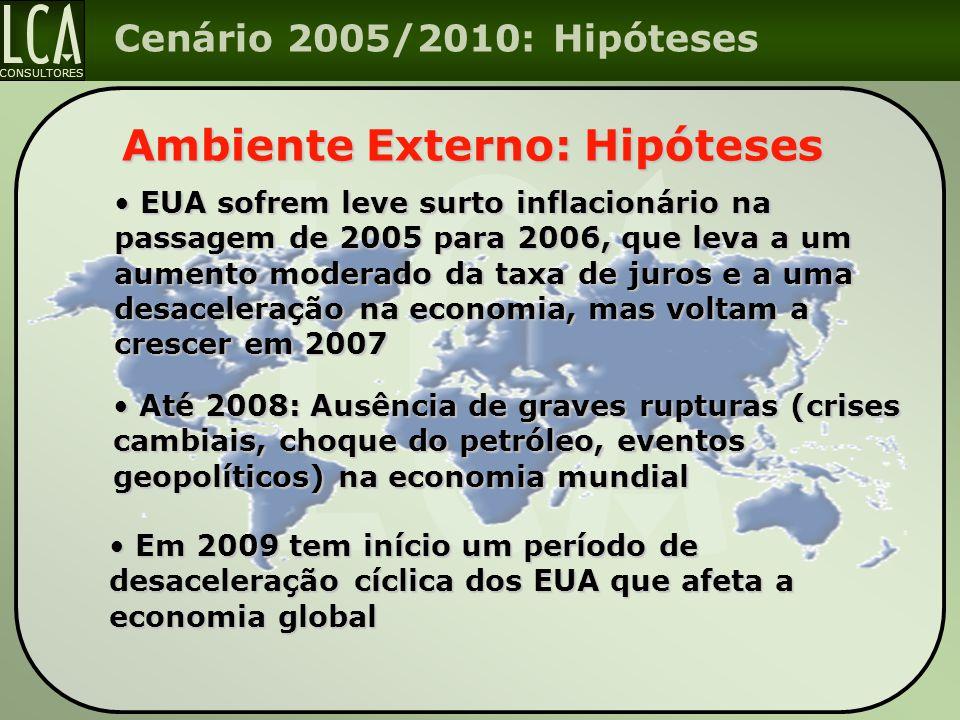 CONSULTORES Cenário 2005/2010: Hipóteses Ambiente Externo: Hipóteses Até 2008: Ausência de graves rupturas (crises cambiais, choque do petróleo, event