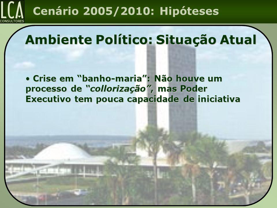 """CONSULTORES Cenário 2005/2010: Hipóteses Ambiente Político: Situação Atual Crise em """"banho-maria"""": Não houve um processo de """"collorização"""", mas Poder"""