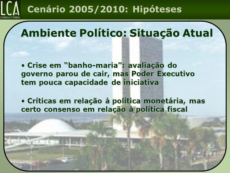 """CONSULTORES Cenário 2005/2010: Hipóteses Ambiente Político: Situação Atual Crise em """"banho-maria"""": avaliação do governo parou de cair, mas Poder Execu"""