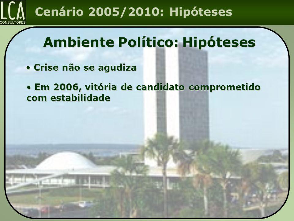 CONSULTORES Cenário 2005/2010: Hipóteses Ambiente Político: Hipóteses Em 2006, vitória de candidato comprometido com estabilidade Em 2006, vitória de