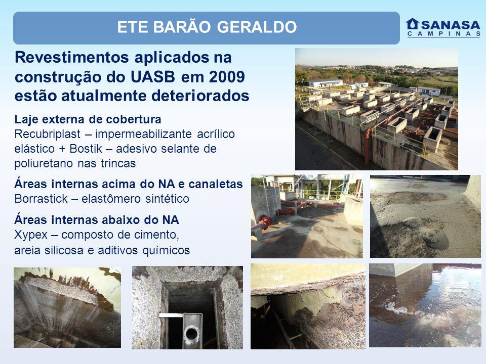 ETE BARÃO GERALDO Revestimentos aplicados na construção do UASB em 2009 estão atualmente deteriorados Laje externa de cobertura Recubriplast – imperme