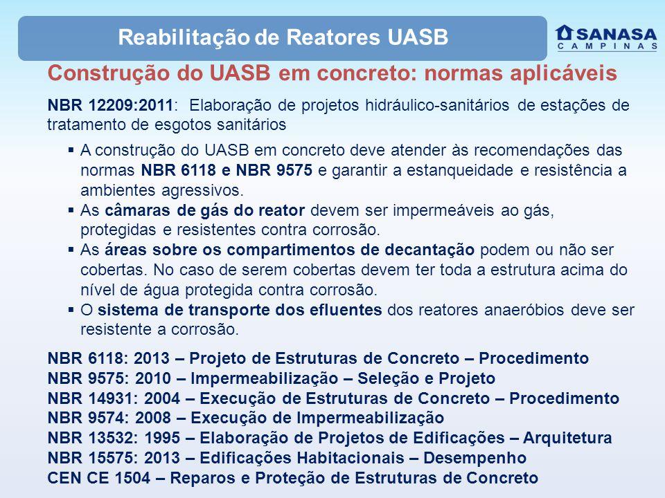 Reabilitação de Reatores UASB Construção do UASB em concreto: normas aplicáveis NBR 12209:2011: Elaboração de projetos hidráulico-sanitários de estaçõ