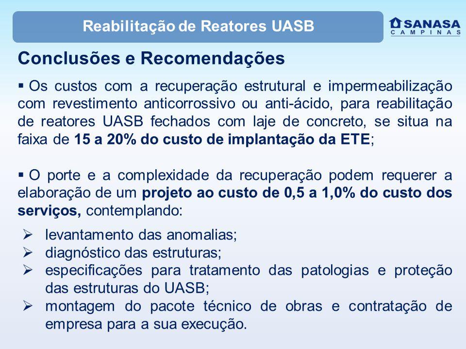 Reabilitação de Reatores UASB Conclusões e Recomendações  Os custos com a recuperação estrutural e impermeabilização com revestimento anticorrossivo
