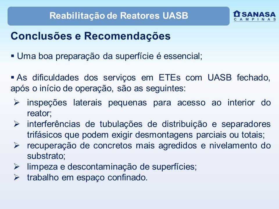 Reabilitação de Reatores UASB Conclusões e Recomendações  Uma boa preparação da superfície é essencial;  As dificuldades dos serviços em ETEs com UA