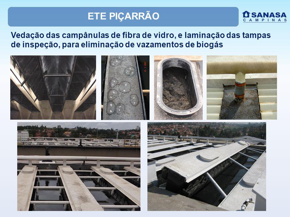 ETE PIÇARRÃO Vedação das campânulas de fibra de vidro, e laminação das tampas de inspeção, para eliminação de vazamentos de biogás