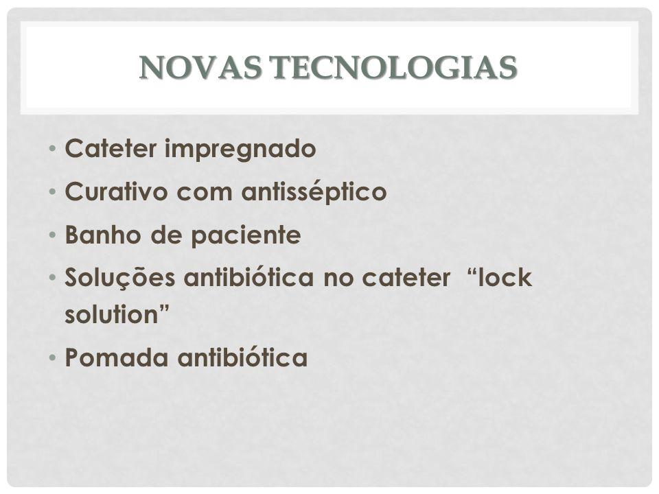 """NOVAS TECNOLOGIAS Cateter impregnado Curativo com antisséptico Banho de paciente Soluções antibiótica no cateter """"lock solution"""" Pomada antibiótica"""