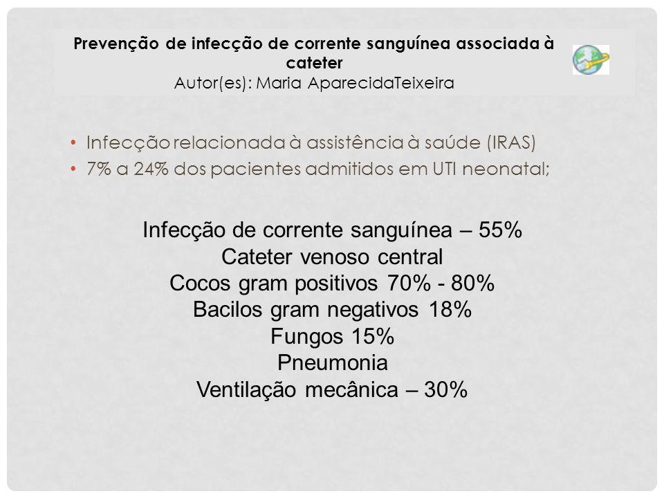 Infecção relacionada à assistência à saúde (IRAS) 7% a 24% dos pacientes admitidos em UTI neonatal; Prevenção de infecção de corrente sanguínea associ