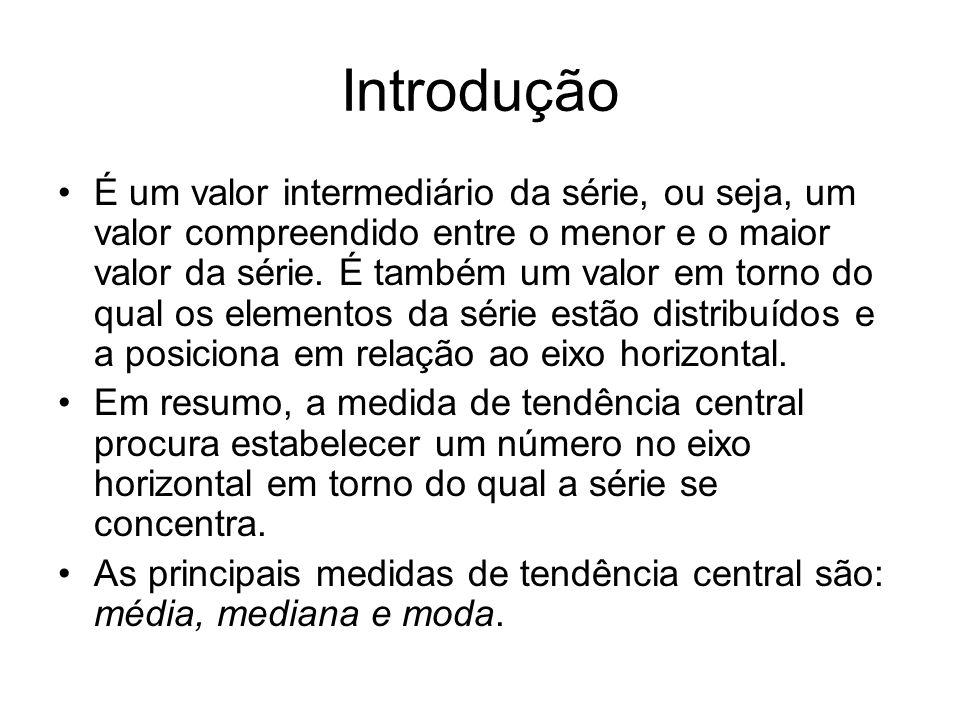 Introdução É um valor intermediário da série, ou seja, um valor compreendido entre o menor e o maior valor da série.