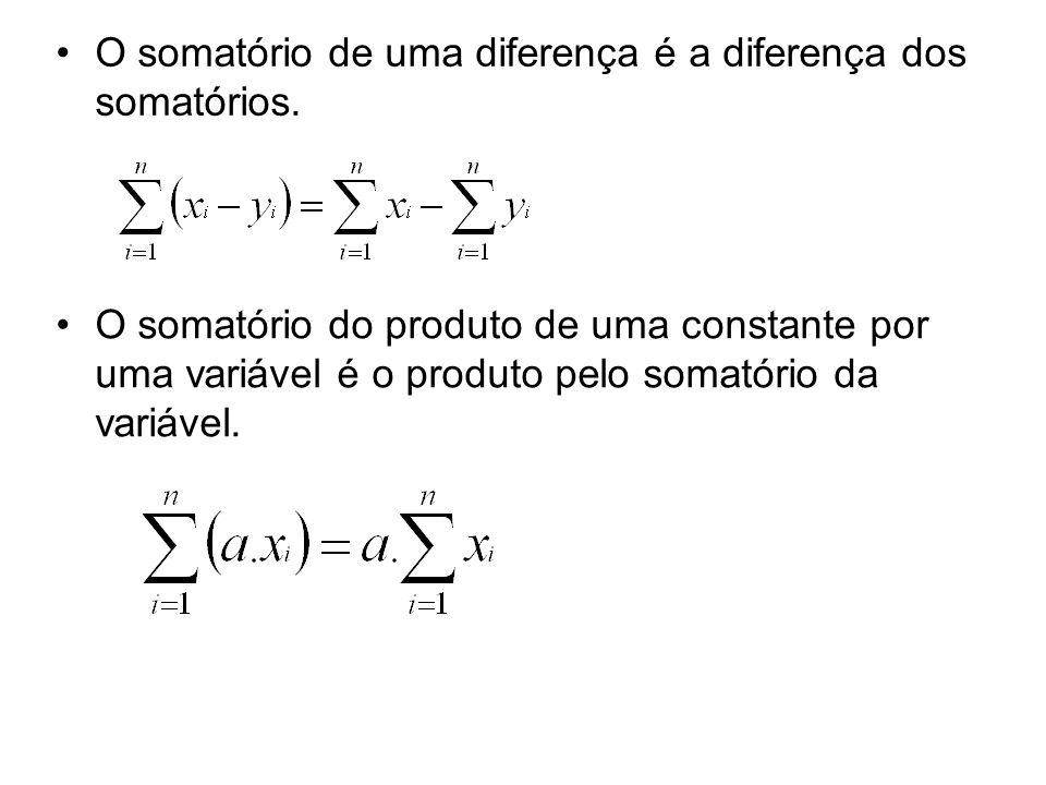 O somatório de uma diferença é a diferença dos somatórios.