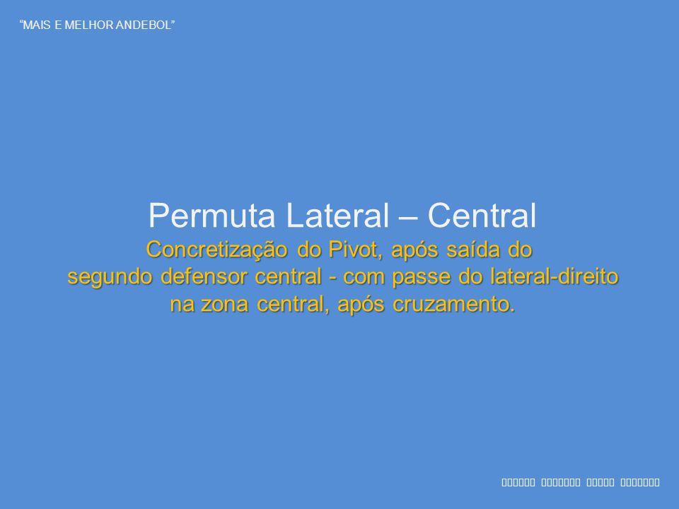 """""""MAIS E MELHOR ANDEBOL"""" Permuta Lateral – Central Concretização do Pivot, após saída do segundo defensor central - com passe do lateral-direito na zon"""