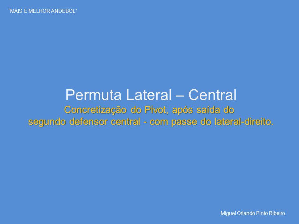 """""""MAIS E MELHOR ANDEBOL"""" Permuta Lateral – Central Concretização do Pivot, após saída do segundo defensor central - com passe do lateral-direito. Migue"""
