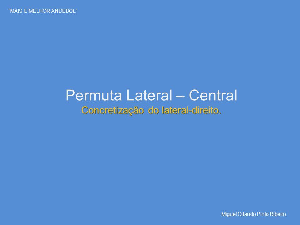 """""""MAIS E MELHOR ANDEBOL"""" Permuta Lateral – Central Concretização do lateral-direito. Miguel Orlando Pinto Ribeiro"""