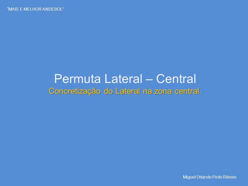 """""""MAIS E MELHOR ANDEBOL"""" Permuta Lateral – Central Concretização do Lateral na zona central. Miguel Orlando Pinto Ribeiro"""