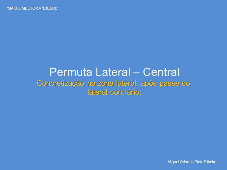 """""""MAIS E MELHOR ANDEBOL"""" Permuta Lateral – Central Concretização na zona lateral, após passe do lateral contrário. Miguel Orlando Pinto Ribeiro"""