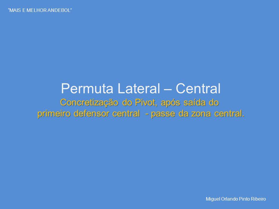 """""""MAIS E MELHOR ANDEBOL"""" Permuta Lateral – Central Concretização do Pivot, após saída do primeiro defensor central - passe da zona central. Miguel Orla"""