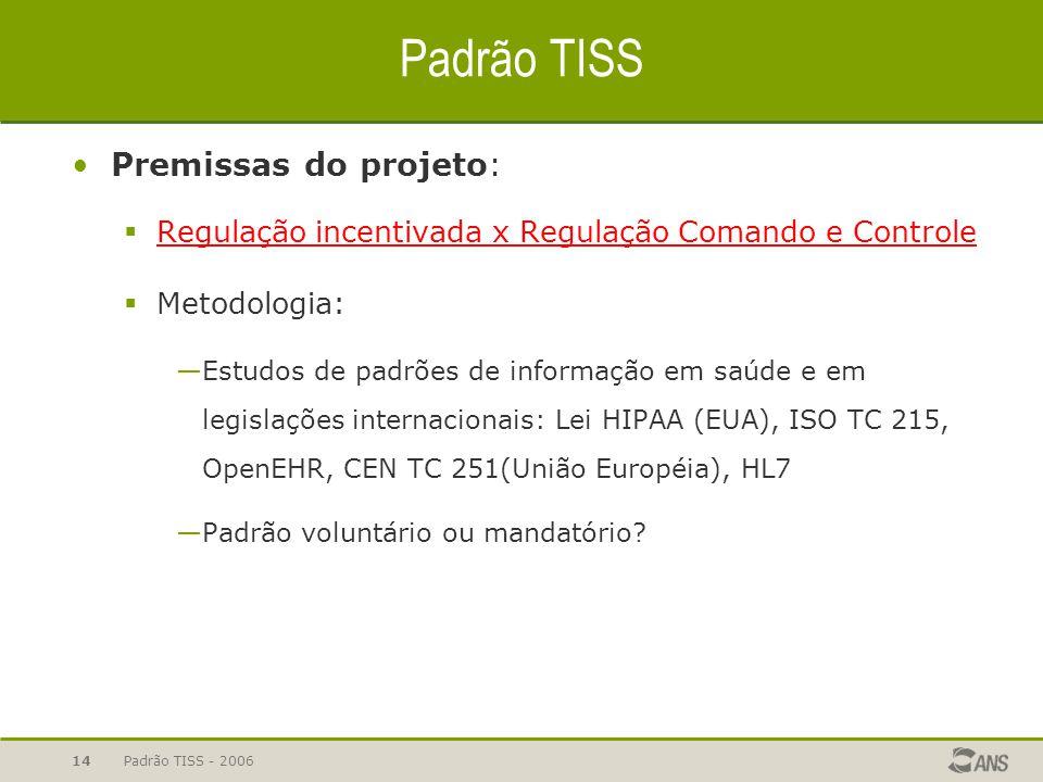Padrão TISS - 200614 Padrão TISS Premissas do projeto:  Regulação incentivada x Regulação Comando e Controle  Metodologia: —Estudos de padrões de in