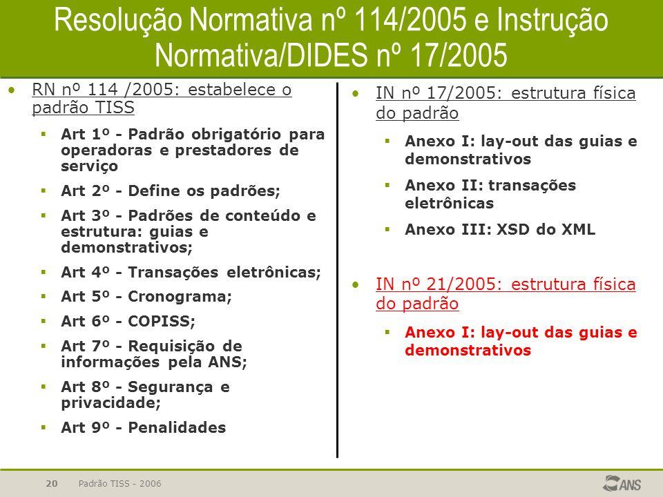 Padrão TISS - 200620 Resolução Normativa nº 114/2005 e Instrução Normativa/DIDES nº 17/2005 RN nº 114 /2005: estabelece o padrão TISS  Art 1º - Padrã