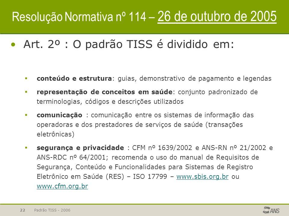 Padrão TISS - 200622 Resolução Normativa nº 114 – 26 de outubro de 2005 Art. 2º : O padrão TISS é dividido em:  conteúdo e estrutura: guias, demonstr