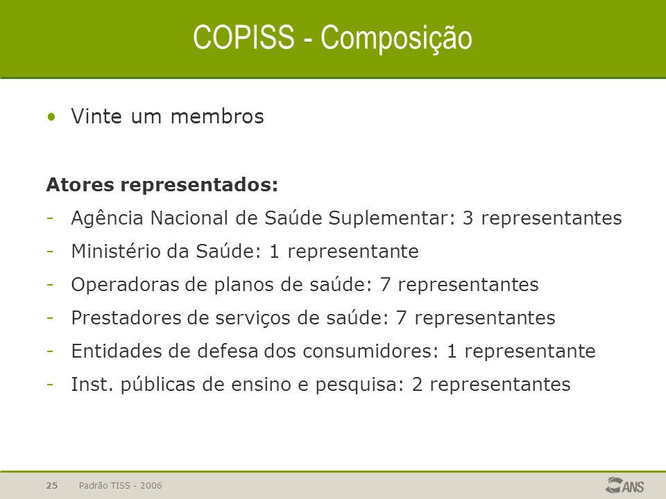 Padrão TISS - 200625 COPISS - Composição Vinte um membros Atores representados: -Agência Nacional de Saúde Suplementar: 3 representantes -Ministério d