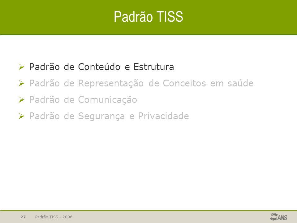 Padrão TISS - 200627 Padrão TISS  Padrão de Conteúdo e Estrutura  Padrão de Representação de Conceitos em saúde  Padrão de Comunicação  Padrão de