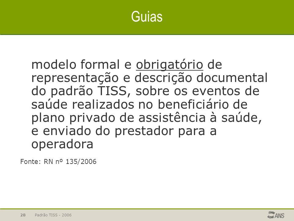 Padrão TISS - 200628 Guias modelo formal e obrigatório de representação e descrição documental do padrão TISS, sobre os eventos de saúde realizados no