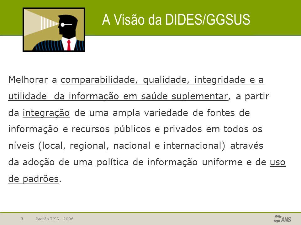 Padrão TISS - 20063 A Visão da DIDES/GGSUS Melhorar a comparabilidade, qualidade, integridade e a utilidade da informação em saúde suplementar, a part