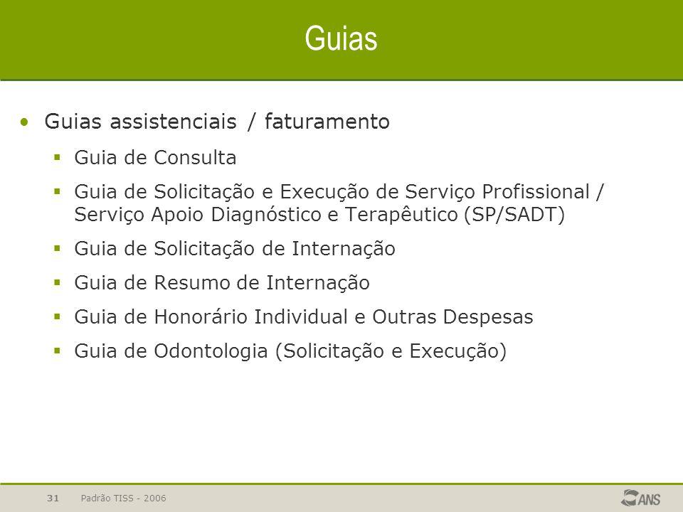 Padrão TISS - 200631 Guias Guias assistenciais / faturamento  Guia de Consulta  Guia de Solicitação e Execução de Serviço Profissional / Serviço Apo