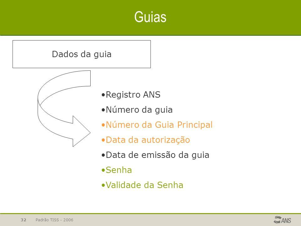 Padrão TISS - 200632 Guias Dados da guia Registro ANS Número da guia Número da Guia Principal Data da autorização Data de emissão da guia Senha Valida