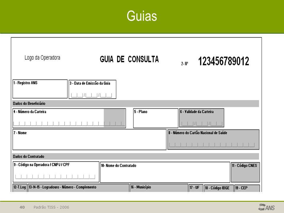 Padrão TISS - 200640 Guias