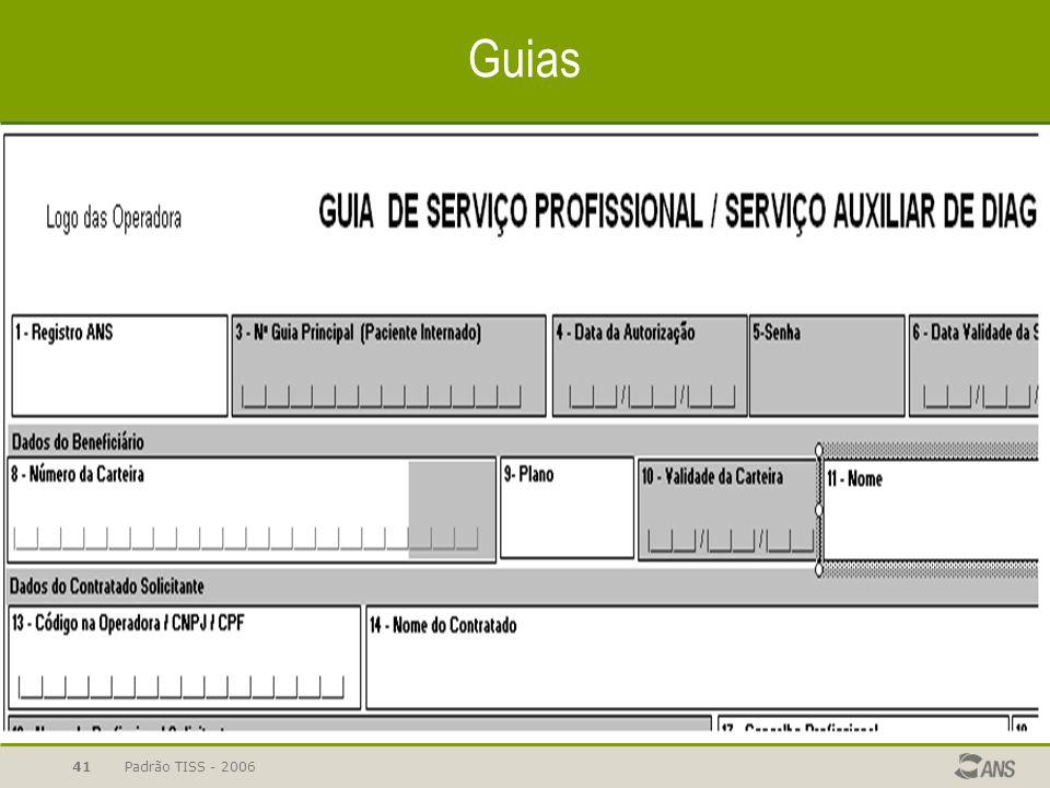 Padrão TISS - 200641 Guias