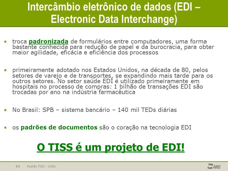 Padrão TISS - 200653 Intercâmbio eletrônico de dados (EDI – Electronic Data Interchange) troca padronizada de formulários entre computadores, uma form
