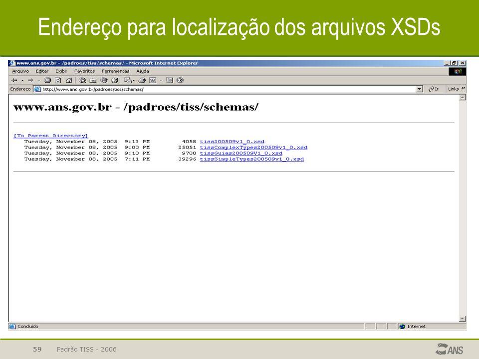 Padrão TISS - 200659 Endereço para localização dos arquivos XSDs