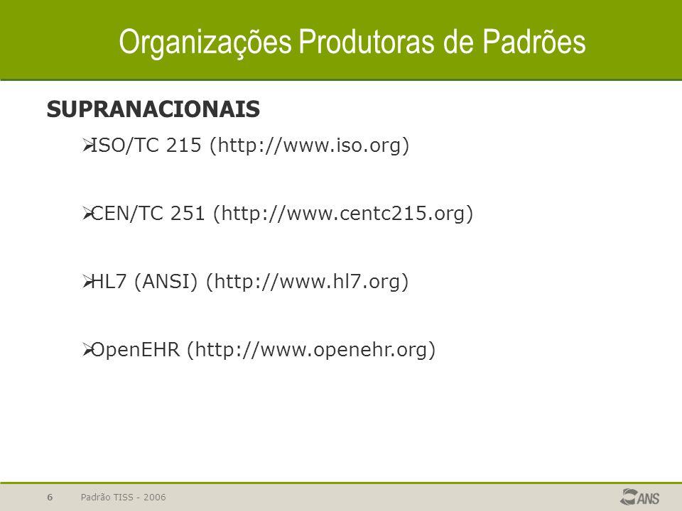 Padrão TISS - 20067 Organizações Produtoras de Padrões (2) OUTRAS  ASTM (http://www.astm.org)  OMG HDTF (CORBAMED) (http://www.omg.org)  DICOM (http://medical.nema.org/)  AFEHCT (http://www.afehct.org)