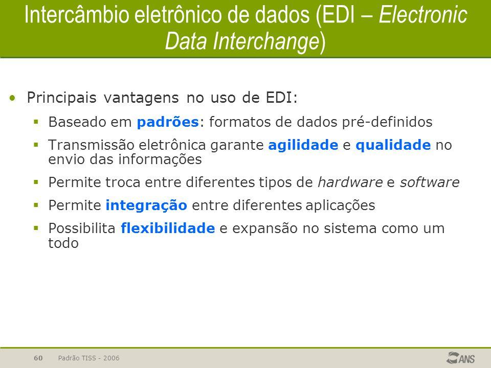 Padrão TISS - 200660 Intercâmbio eletrônico de dados (EDI – Electronic Data Interchange ) Principais vantagens no uso de EDI:  Baseado em padrões: fo