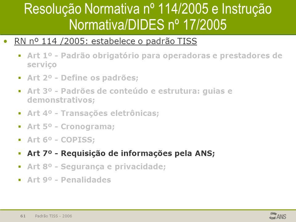 Padrão TISS - 200661 Resolução Normativa nº 114/2005 e Instrução Normativa/DIDES nº 17/2005 RN nº 114 /2005: estabelece o padrão TISS  Art 1º - Padrã
