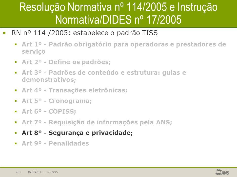 Padrão TISS - 200663 Resolução Normativa nº 114/2005 e Instrução Normativa/DIDES nº 17/2005 RN nº 114 /2005: estabelece o padrão TISS  Art 1º - Padrã