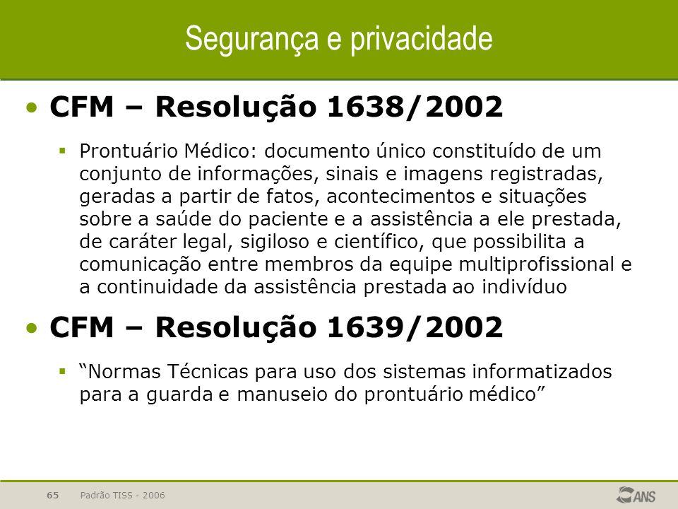 Padrão TISS - 200665 CFM – Resolução 1638/2002  Prontuário Médico: documento único constituído de um conjunto de informações, sinais e imagens regist
