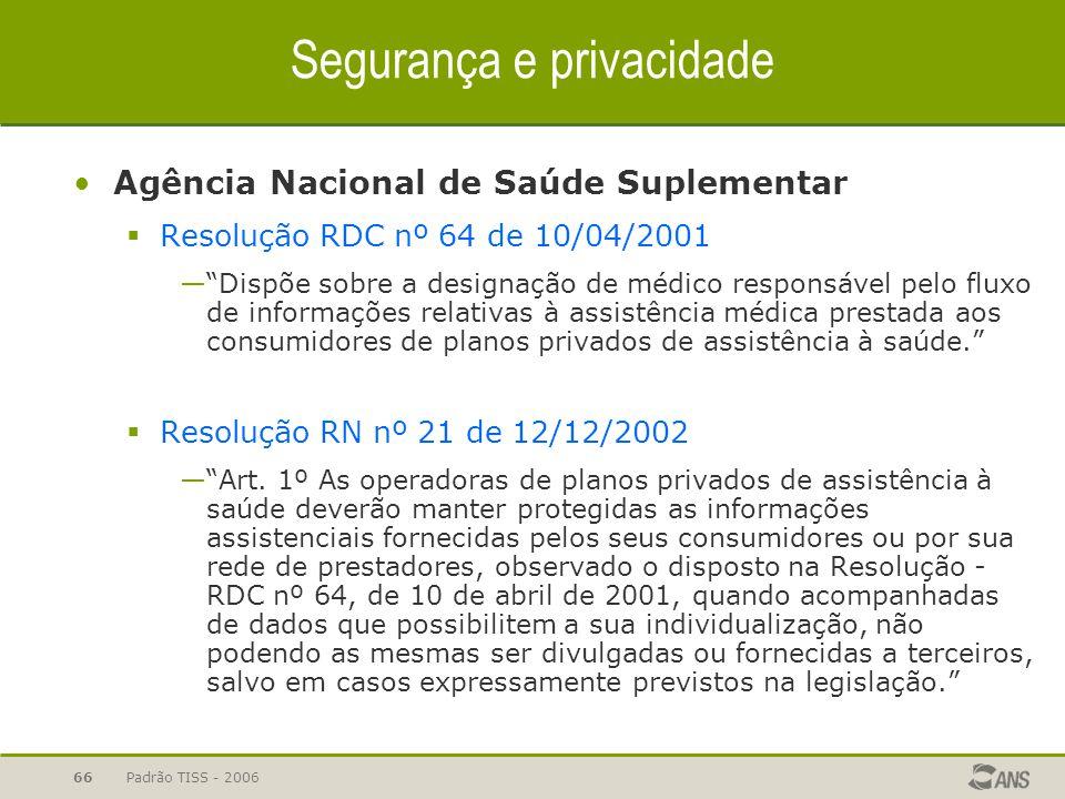 """Padrão TISS - 200666 Agência Nacional de Saúde Suplementar  Resolução RDC nº 64 de 10/04/2001 —""""Dispõe sobre a designação de médico responsável pelo"""