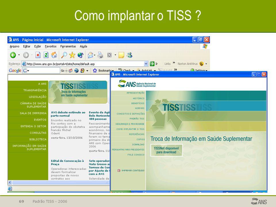 Padrão TISS - 200669 Como implantar o TISS ?