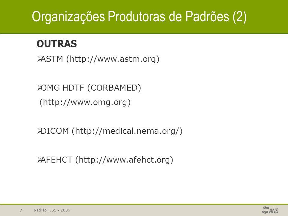 Padrão TISS - 20068 SISTEMAS NACIONAIS PARA EDI – Electronic Data Interchange  Australia (http://www.health.gov.au)  Canada (http://www.infoway-.inforoute.ca )  Alemanha (http://www.dimdi.de/de/ehealth/karte/index.htm)  EUA - HIPAA (http://www.hipaa.org)  Brasil - SCNS (http://dtr2001.saude.gov.br/cartao/) Organizações Produtoras de Padrões (3)