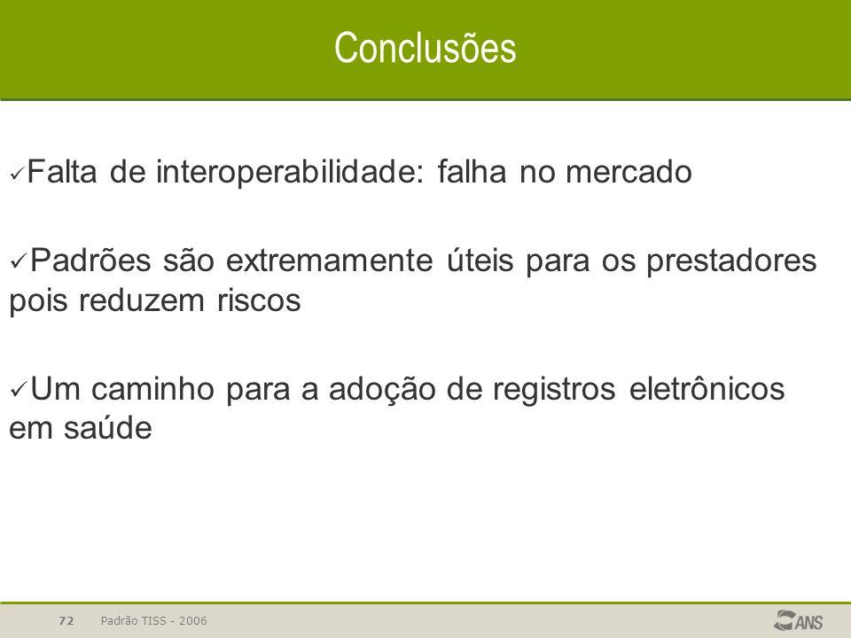 Padrão TISS - 200672 Conclusões Falta de interoperabilidade: falha no mercado Padrões são extremamente úteis para os prestadores pois reduzem riscos U