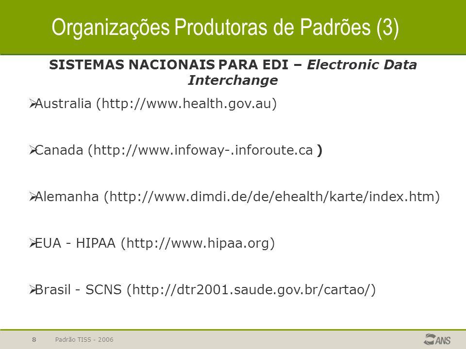 Padrão TISS - 20068 SISTEMAS NACIONAIS PARA EDI – Electronic Data Interchange  Australia (http://www.health.gov.au)  Canada (http://www.infoway-.inf